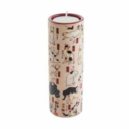 A tealight holder featuring the Kuniyoshi Cat Stations art work.