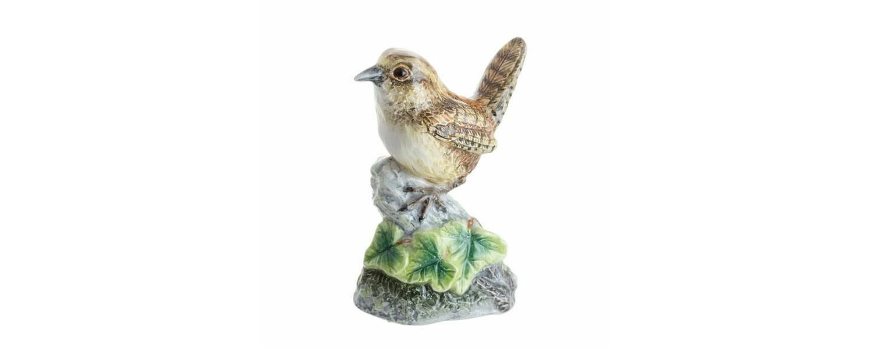 Tiny Sparrow Bird in nest Bird Figurine Miniature Mini Bird with Natural Nest
